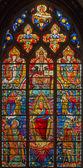 BRUGES, BELGIUM - JUNE 13, 2014: Jesus Christ from windowpane (19. cent.) in st. Giles (Sint Gilliskerk). — Stock Photo