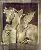PADUA, ITALY - SEPTEMBER 9, 2014: The paint of the bull as symbol of st. Luke the Evangelist in church Basilica del Carmine by unknown painter. — Stock Photo