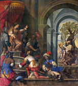 PADUA, ITALY - SEPTEMBER 9, 2014: Pain of Old Testamnet scene with prophet Elijah and  queen Jezebel in church Basilica del Carmine from 17. cent by unknown painter. — Stock Photo