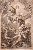 MARIANKA - DECEMBER 4: Resurrection. Lithography print in Missale romanum published by Augustae Vindelicorum in year 1727 on December 4, 2012 in Marianka, Slovakia. — ストック写真