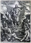 "GERMANY - 1928: Lithography of Christ resurrection by Albert Durer. Book "" Durer als Fuhrer"" published by Josef Muller, Munchen, Garmany 1928. — Zdjęcie stockowe"