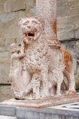 BERGAMO, ITALY - JANUARY 29: Lion and the column of portal from Basilica Santa Maria Maggiore on January 29, 2013 in Bergamo, Italy. — Stock Photo