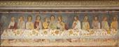 "BERGAMO - JANUARY 26: Giottesque medieval fresco of Last Supper,  ""Ultima Cena"", from 14. cent. in Basilica di Santa Maria Maggiore on January 26, 2013 in Bergamo, Italy. — Foto Stock"