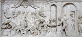 BERGAMO - JANUARY 29: Baroque relief of Last supper in the church San Alessandro della Croce on January 29, 2013 in Bergamo, Italy. — Stock Photo