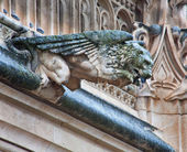 TOLEDO - MARCH 8: Detail of animal as gothic spoutler in rain from atrium of Monasterio de San Juan de los Reyes on March 8, 2013 in Toledo, Spain. — Stock fotografie