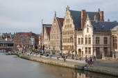 GENT, BELGIUM - JUNE 23, 2012: Typical old palaces from Graselei street from 16. - 18. cent. — Stock Photo