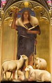 Jesus Christ - good shepherd paint from viligiardi - Siena - church San Francesco — Stock Photo