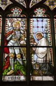 Banska Stiavnica - windowpane from st. Katharine church - holy Georg — Stock Photo
