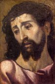 SEVILLE, SPAIN - OCTOBER 28, 2014: The little fine art portrait of Jesus Christ with the crown of thons in church Iglesia de San Roque from 17. cent. by unknown painter. — Stock Photo
