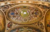 SEVILLE, SPAIN - OCTOBER 28, 2014: The neo - baroque cupola in the presbytery of church Capilla Santa Maria de los Angeles by Rafael Rodriguez Hernandez from 20 cent. — Stock Photo