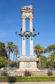 Seville - The Monumento a Cristobal Coloon before of Maria Luisa Park by sculptor Lorenzo Coullaut Valera from year 1917. — Stock Photo