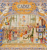 SEVILLE, SPAIN - OCTOBER 28, 2014: The Cadiz as one of The tiled 'Province Alcoves' along the walls of the Plaza de Espana (1920s) realized by Domingo Prida. — Стоковое фото
