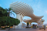 SEVILLE, SPAIN - OCTOBER 28, 2014: Metropol Parasol wooden structure located at La Encarnacion square, designed by the German architect Jurgen Mayer Hermann and completed in April 2011. — Stock Photo