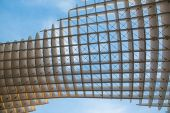 SEVILLE, SPAIN - OCTOBER 28, 2014: Detail of Metropol Parasol wooden structure located at La Encarnacion square, designed by the German architect Jurgen Mayer Hermann and completed in April 2011. — Stock Photo