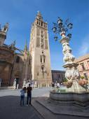SEVILLE, SPAIN - OCTOBER 28, 2014: Cathedral de Santa Maria de la Sede with the Giralda bell tower from Plaze del Triumfo. — Stock Photo