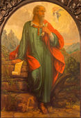 SEVILLE, SPAIN - OCTOBER 28, 2014: The baroque fresco of archangel Raphael and Tobias in church Hospital de los Venerables Sacerdotes by Juan de Valdes Leal (1622 - 1690). — Stock Photo