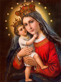 SEBECHLEBY, SLOVAKIA - JANUARY 2, 2015:  Typical catholic image of Madonna with the child printed in Germany from the end of 19. cent. originally by unknown painter. — Stock Photo