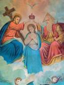 SEBECHLEBY, SLOVAKIA - DECEMBER 29, 2014: Typical catholic image of Coronation of Virgin Mary (in my own home) printed in Germany from the end of 19. cent. originally by unknown painter. — Stock Photo