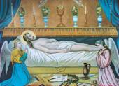 SEBECHLEBY, SLOVAKIA - JANUARY 2, 2015: Typical catholic image of Jesus Christ in the tomb (in my own home)  printed in Germany from the end of 19. cent. originally by unknown painter. — Stock Photo
