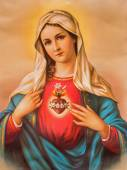 SEBECHLEBY, SLOVAKIA - JANUARY 6, 2015: The Heart of Virgin Mary. Typical catholic image printed in Germany from the end of 19. cent. originally by unknown painter. — Stock Photo