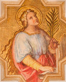 VIENNA, AUSTRIA - DECEMBER 17, 2014: The fresco of st. Cecilia patroness of musicians by Josef Kastner the younger from 20. cent in the church Muttergotteskirche. — Stock Photo