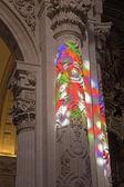SEVILLE, SPAIN - OCTOBER 28, 2014: The windowpane light on the column baroque Church of El Salvador (Iglesia del Salvador). — Stock Photo