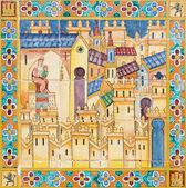 西班牙塞维利亚-2014 年 10 月 28 日: 教会的麦当娜在中世纪小镇。细节从平铺 '省壁龛' 沿墙壁的西班牙广场 (1920 年) 实现由 D.普. — 图库照片