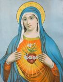 SEBECHLEBY, SLOVAKIA - JANUARY 3, 2015: The Heart of Virgin Mary. Typical catholic image (in my own home) printed in Germany from the end of 19. cent. originally by unknown painter. — Stock Photo