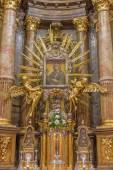 TRNAVA, SLOVAKIA - OCTOBER 14, 2014: The baroque altar of Virgin Mary in St. Nicholas church and Virgin Mary chapel designed by A. Huetter in 17 cent. — Stock Photo