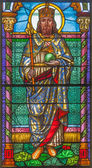 ROZNAVA, SLOVAKIA - APRIL 19, 2014: St. Stephen - king of Hungary from windowpane from 19. cent. in the cathedral of Assumption of Virgin Mary. — Stock Photo