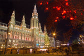 Vienna - tower of town-hall and christmas decoration — Stock Photo