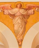 VIENNA, AUSTRIA - DECEMBER 17, 2014: The fresco of angel by Josef Kastner the younger from 20. cent in the church Muttergotteskirche. — Stock Photo