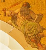 VIENNA, AUSTRIA - DECEMBER 17, 2014: The fresco of prophet Elijah by Josef Kastner the younger from 20. cent in the church Muttergotteskirche. — Stock Photo