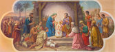 VIENNA, AUSTRIA - DECEMBER 17, 2014: Fresco of Nativity scene by Josef Kastner the older from 20. cent. in Erloserkirche church. — Stock Photo