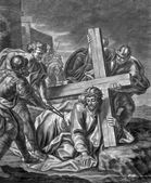 VIENNA, AUSTRIA - DECEMBER 17, 2014: The Jesus fall under cross old lithography from 18. cent. by Johannes Lorenz Haid in Salesianerkirche church as the part of Cross way cycle. — Stock Photo