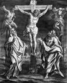 VIENNA, AUSTRIA - DECEMBER 17, 2014:  The Crucifixion old lithography from 18. cent. by Johannes Lorenz Haid in Salesianerkirche church as the part of Cross way cycle. — Stock Photo