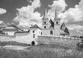 Spisska Kapitula - Saint Martins gothic cathedral and wall of fortness from west. Unesco monument. — Stock Photo