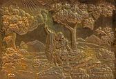 ROZNAVA, SLOVAKIA - APRIL 19, 2014: Metal relief of Abraham and Isaac from baroque main altar in the cathedral by Johannes Szilassy (1705 - 1782) — Stock Photo