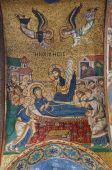 PALERMO - APRIL 8: mosaic of Holy Mary death on ceiling from Church of Santa Maria dell' Ammiraglio or La Martorana from 12. cent. on April 8, 2013 in Palermo, Italy. — Stock Photo