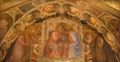 PADUA, ITALY - SEPTEMBER 8, 2014: The fresco of the Coronation of Virgin Mary in Basilica del Santo or Basilica of Saint Anthony of Padova by Giusto de Menabuoi (1375-1376) in the chapel of Blessings. — Stock Photo