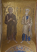 PALERMO - APRIL 8: Mosaic of apostle Peter and Andrew from in Church of Santa Maria dell' Ammiraglio or La Martorana from 12. cent. on April 8, 2013 in Palermo, Italy. — Stock Photo