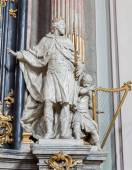 VIENNA - JULY 27: Statue of king david from baroque church Maria Treu. Church was build between years 1698 bis 1719 by plans of architect Lukas von Hildebrandt on July 27, 2013 Vienna. — Stock Photo