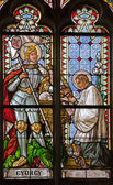 BANSKA STIAVNICA, SLOVAKIA - MAY 25, 2009: The windowpane from st. Katharine gothic church with holy Georg from 19. cent. — Stock Photo