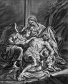 VIENNA, AUSTRIA - DECEMBER 17, 2014: The Deposition form the cross (Pieta) old lithography from 18. cent. by Johannes Lorenz Haid in Salesianerkirche church as the part of Cross way cycle. — Stock Photo