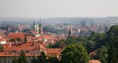 Prague - outlook over the town from Petrin hill — Stock Photo