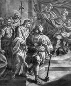 VIENNA, AUSTRIA - DECEMBER 17, 2014: The Jesus for Pilate old lithography from 18. cent. by Johannes Lorenz Haid in Salesianerkirche church as the part of Cross way cycle. — Stock Photo