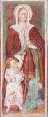 BERGAMO - JANUARY 26: Virgin Mary fresco from church Michele al pozzo bianco. Frescos of main nave is from year 1440 on January 26, 2013 in Bergamo, Italy. — Stock Photo