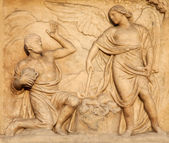 Milan - detail from facade of Duomo - Offer of Cain — Stock Photo