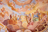 BANSKA STIAVNICA, SLOVAKIA - FEBRUARY 20, 2015: The detail of fresco on cupola in the middle church of baroque calvary by Anton Schmidt from years 1745. Angels with the music instruments. — Stockfoto