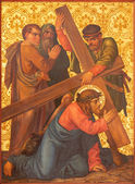 JERUSALEM, ISRAEL - MARCH 4, 2015: The Christ fall under cross paint from end of 19. cent. by unknown artist as part of cross way cycle in Armenian Church Of Our Lady Of The Spasm. — Stock Photo